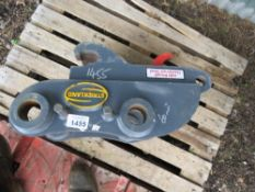 STRICKLAND HYDRAULIC QUICK HITCH, NEVER INSTALLED. 60MM MACHINE PINS TO 50MM BUCKET PINS.