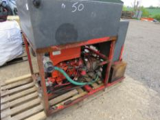 DIESEL ENGINED 3 CYLINDER HIGH PRESSURE JETTING/WASHER UNIT. UNTESTED, CONDITION UNKNOWN.
