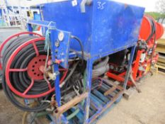LISTER 3 CYLINDER ENGINED HIGH PRESSURE JETTER/WASHER UNIT, UNTESTED, CONDITION UNKNOWN.