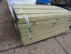 LARGE PACK OF MACHINED HIT AND MISS FENCING BOARDS, TREATED, 1.74M X 10CM APPROX.