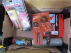 BOX CONTAINING ASSORTED TAPES, JUMP LEADS, STARTER UNITS ETC...