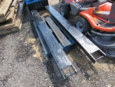 """PAIR OF FORKLIFT EXTENSION TINES/SLEEVES, 7FT LENGTH X 7"""" WIDE APPROX."""