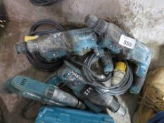 4 X ROTARY 110VOLT DRILLS. UNTESTED, CONDITION UNKNOWN.
