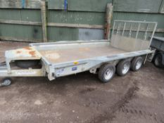 IFOR WILLIAMS GX126-3 TRIAXLE PLANT TRAILER WITH SPARE WHEEL AND FULL WIDTH DROP TAILBOARD. SN:SCKT0