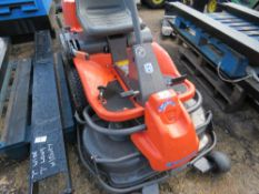 HUSQVARNA RIDER 13 OUT FRONT ROTARY RIDE ON MOWER. WHEN TESTED WAS SEEN TO START AND RUN AND DRIVE..
