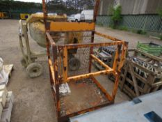 FORKLIFT MOUNTED MAN CAGE, UNTESTED. NO VAT ON HAMMER PRICE.