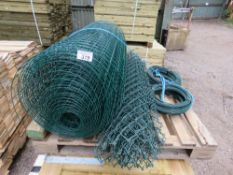 PALLET OF ASSORTED GREEN FENCING WIRES.