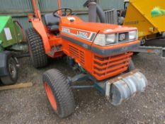 KUBOTA L3250 4WD TRACTOR ON GRASS TYRES. 4080 REC HOURS. SHUTTLE GEARBOX. SN:51408.