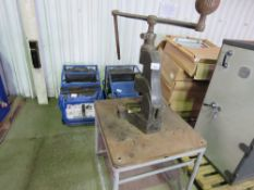 FLYPRESS ON STAND WITH SOME TOOLING. FRAME SIZE 700MM X 800MM APPROX. NO VAT ON HAMMER PRICE.