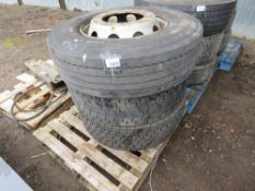 3 X LORRY WHEELS AND TYRES, SIZE: 295 80R22.5.
