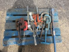 PALLET OF PIPE CUTTER AND TOOLS ETC.