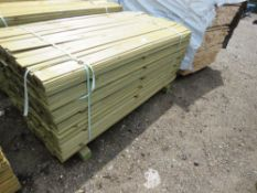 PACK OF TREATED HIT AND MISS TIMBER FENCE CLADDING, 1.74M LENGTH X 100MM WIDTH APPROX.