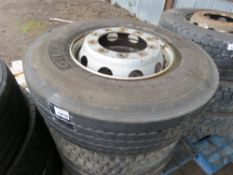 3 X LORRY WHEELS AND TYRES, SIZE: 315 80R22.5.