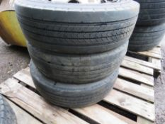 3 X LORRY WHEELS AND TYRES, SIZE: 215 75R17.5.
