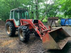 MASSEY FERGUSON 690 4WD TRACTOR WITH FOREND LOADER. 9100 REC HOURS.