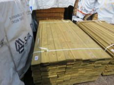 PACK OF TREATED HIT AND MISS TIMBER FENCE CLADDING, 1.74M LENGTH X 95MM WIDTH APPROX.