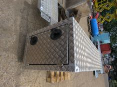 ALUMINIUM TOOL VAULT FOR TRUCK, DOUBLE ENDED DOORS WITH KEYS. 51CM X 75CM X 200CM APPROX.