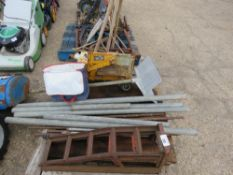 PALLET OF BUILDING SUNDRIES INCLUDING RAMPS, HOD CARRIER AND BLOCK SPLITTER ETC.