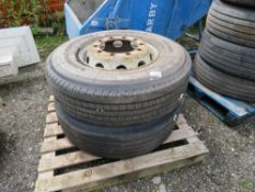 1 X WHEEL AND TYRE AND A TYRE FOR LORRY, 315/80R22.5. GOOD TREAD.