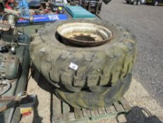 2 X JCB TELEHANDLER WHEELS AND TYRES, 16.5/85-24. SOURCED FROM SITE CLEARANCE, NO VAT ON HAMMER PRIC