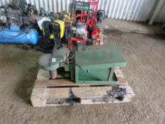 SMALL SIZED LINISHER/SANDER UNIT ON STAND.