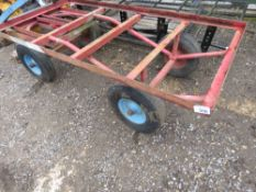 HEAVY DUTY 4 WHEEL TURNTABLE TROLLEY WITH TOW RING.