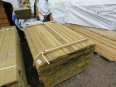 PACK OF TREATED SHIPLAP TIMBER FENCE CLADDING, 1.54M LENGTH X 95MM WIDTH APPROX.