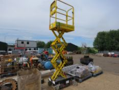 BOSS X3 BATTERY POWERED SCISSOR LIFT ACCESS UNIT, YEAR 2009. WHEN TESTED WAS SEEN TO LIFT AND LOWER.