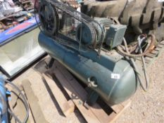 GREEN COLOURED 240VOLT WORKSHOP COMPRESSOR. SOURCED FROM SITE CLEARANCE, UNTESTED, CONDITION UNKNOW