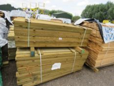 2 X PACKS OF TREATED FEATHER EDGE TIMBER FENCE CLADDING, 1.6M LENGTH X 100MM WIDTH APPROX.