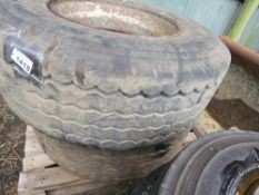 2 X SUPER SINGLE LORRY WHEELS AND TYRES, SIZE: 385/65R22.5.