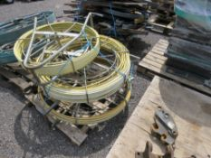 3 X YELLOW CABLE RODDING REELS.