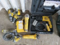 ASSORTED DEAWLT BATTERY/POWER TOOLS. UNTESTED, CONDITION UNKNOWN.