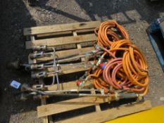 6 X GAS TORCHES WITH HOSES.