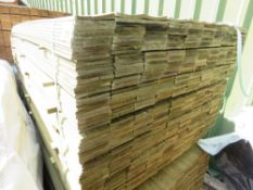LARGE PACK OF TREATED HIT AND MISS CLADDING TIMBER, 1.74M LENGTH X 10CM WIDTH APPROX.