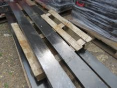 """PAIR OF FORKLIFT EXTENSION TINES / SLEEVES 8FT LENGTH X 6"""" WIDTH APPROX, WITH LOCKING PINS."""