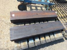 2 X HEAVY DUTY TREATED SLEEPERS, 4FT LENGTH APPROX. NO VAT ON HAMMER PRICE.