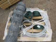 ROLL OF SHEEP NETTING AND STRAINING WIRE.