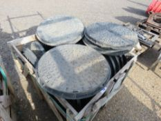 STILLAGE OF ROAD DRIVEWAY MANHOLE COVERS/SURROUNDS. 22NO IN TOTAL APPROX.