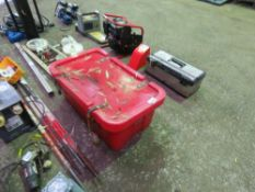 LARGE RED BOX OF ASSORTED TOOLS.