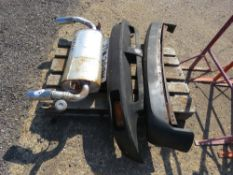 2 X RUBBER MG BUMPERS PLUS AN MG TF EXHAUST SILENCER. NO VAT ON HAMMER PRICE.