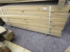 LARGE PACK OF PRESSURE TREATED HIT AND MISS FENCING CLADDING MACHINED TIMBER. 1.74M LENGTH X 9.5CM W