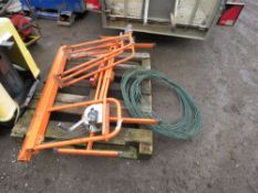 WHEELED PLASTER BOARD LIFTER PLUS SOME GREEN WIRE. NO VAT ON HAMMER PRICE.