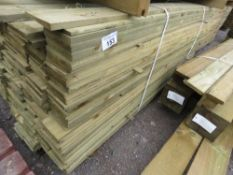 LARGE PACK OF PRESSURE TREATED SHIPLAP FENCING TIMBER. 1.79M LENGTH X 10CM WIDTH APPROX.