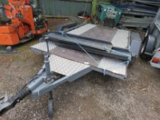 CORBRIDGE FABRICATIONS LTD TWIN AXLED CAR TRAILER WITH RAMPS. 1500KG RATED, 6FT X 11FT BED APPROX.