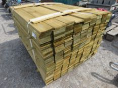 PACK OF FEATHER EDGE TREATED TIMBER CLADDING BOARDS. 1.19M X 10CM WIDTH APPROX.
