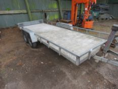 TWIN AXLED CAR TRAILER, TILT BED, 16FT X 6FT BED APPROX. NO VAT ON HAMMER PRICE.