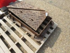"""HEAVY DUTY CAST IRON MANHOLE WITH SURROUND, 18"""" X 36"""" OPENING APPROX."""