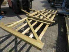 2 X LEFT HANDED WOODEN ENTRANCE GATES: 3.6M AND 1.2M APPROX.