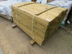 LARGE PACK OF FEATHER EDGE TREATED TIMBER, 1.49M X 10CM APPROX.